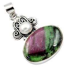 26.65cts natural pink ruby zoisite white pearl round 925 silver pendant d43188