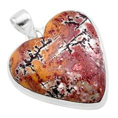 26.20cts heart pink sonoran dendritic rhyolite 925 silver pendant t22988