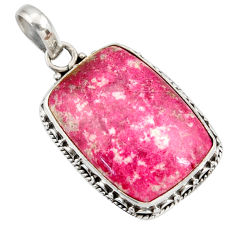 Clearance Sale- 22.65cts natural pink thulite (unionite, pink zoisite) 925 silver pendant d41427
