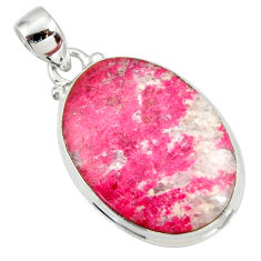 Clearance Sale- 21.50cts natural pink thulite (unionite, pink zoisite) 925 silver pendant d41432