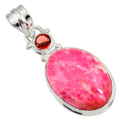 Clearance Sale- 18.15cts natural pink thulite (unionite, pink zoisite) 925 silver pendant d41441