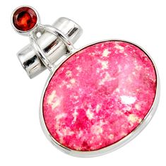 Clearance Sale- 25.00cts natural pink thulite (unionite, pink zoisite) 925 silver pendant d41446