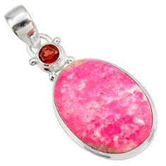 Clearance Sale- 21.48cts natural pink thulite (unionite, pink zoisite) 925 silver pendant d41448