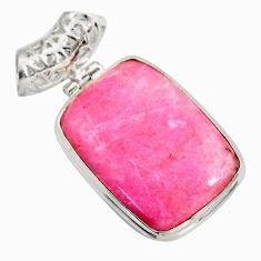 Clearance Sale- 19.72cts natural pink thulite (unionite, pink zoisite) 925 silver pendant d41449