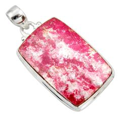 Clearance Sale- 28.73cts natural pink thulite (unionite, pink zoisite) 925 silver pendant d41451