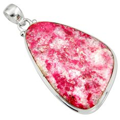 Clearance Sale- 33.24cts natural pink thulite (unionite, pink zoisite) 925 silver pendant d41452