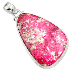Clearance Sale- 32.12cts natural pink thulite (unionite, pink zoisite) 925 silver pendant d41460