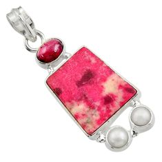 Clearance Sale- 15.02cts natural pink thulite (unionite, pink zoisite) 925 silver pendant d44941