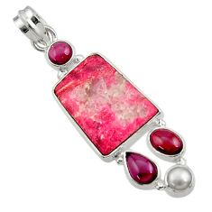 Clearance Sale- 18.79cts natural pink thulite (unionite, pink zoisite) 925 silver pendant d44944