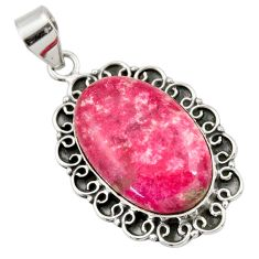 28.86cts natural pink thulite (unionite, pink zoisite) 925 silver pendant r30481