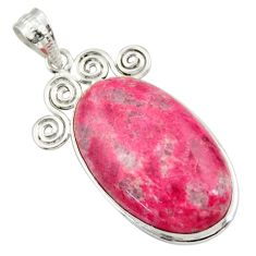 29.34cts natural pink thulite (unionite, pink zoisite) 925 silver pendant r30485