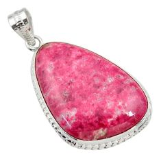 35.53cts natural pink thulite (unionite, pink zoisite) 925 silver pendant r30486