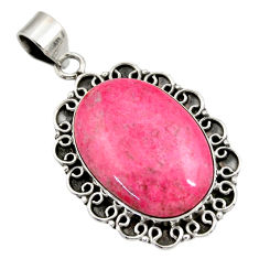 27.08cts natural pink thulite (unionite, pink zoisite) 925 silver pendant r30490