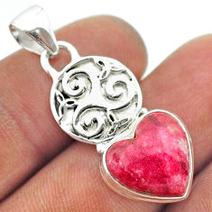 6.27cts natural pink thulite (unionite, pink zoisite) 925 silver pendant t55370