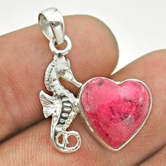 5.87cts natural pink thulite heart shape 925 silver seahorse pendant t55318