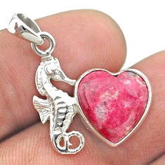 5.87cts natural pink thulite heart shape 925 silver seahorse pendant t55488