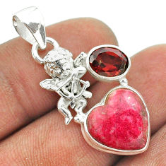8.40cts natural pink thulite red garnet 925 silver angel pendant jewelry t55452