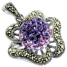 Natural pink topaz fine marcasite 925 sterling silver pendant jewelry c22855