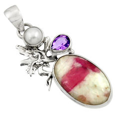 Clearance Sale- Natural pink tourmaline in quartz 925 silver angel wings fairy pendant d45083