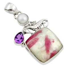 Clearance Sale- 18.70cts natural pink tourmaline in quartz 925 silver seahorse pendant d45303