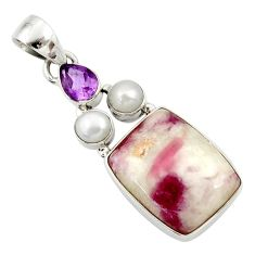 Clearance Sale- 15.65cts natural pink tourmaline in quartz amethyst 925 silver pendant d45301