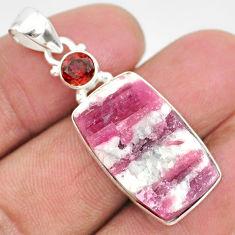 17.18cts natural pink tourmaline in quartz garnet 925 silver pendant r85722