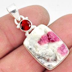15.08cts natural pink tourmaline in quartz garnet 925 silver pendant r85742