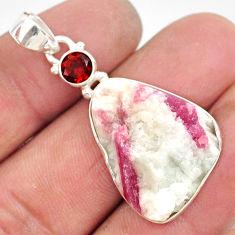 18.15cts natural pink tourmaline in quartz garnet 925 silver pendant r85748