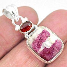 8.77cts natural pink tourmaline in quartz garnet 925 silver pendant t5825