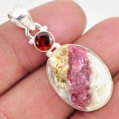 17.18cts natural pink tourmaline in quartz red garnet 925 silver pendant r85727