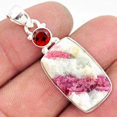 15.65cts natural pink tourmaline in quartz red garnet 925 silver pendant r85743