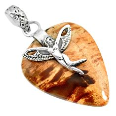 19.26cts natural plum wood jasper 925 silver angel wings fairy pendant r91292