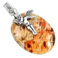 28.86cts natural plum wood jasper 925 silver cupid angel wings pendant r91283