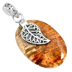 16.88cts natural plum wood jasper 925 silver deltoid leaf pendant r91294