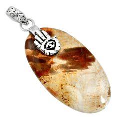 28.86cts natural plum wood jasper 925 silver hand of god hamsa pendant r91281