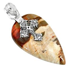 25.66cts natural plum wood jasper 925 silver holy cross pendant r91284