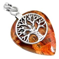 29.54cts natural plum wood jasper 925 silver tree of life pendant r91287
