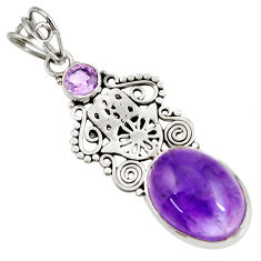 Clearance Sale- 11.23cts natural purple amethyst 925 silver hand of god hamsa pendant d39472