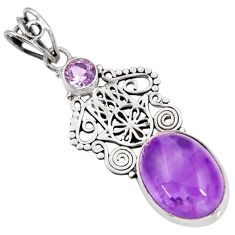 Clearance Sale- 11.66cts natural purple amethyst 925 silver hand of god hamsa pendant d39473