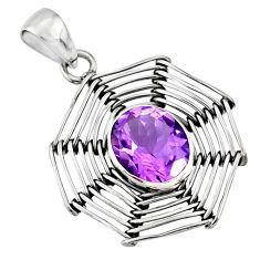 5.08cts natural purple amethyst 925 silver spider web charm pendant r77882
