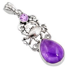 13.46cts natural purple amethyst 925 sterling silver crab pendant jewelry d39476