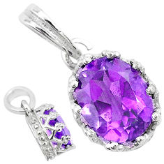 2.68cts natural purple amethyst 925 sterling silver crown pendant jewelry t8095