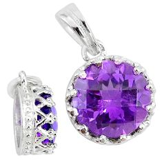 5.11cts natural purple amethyst 925 sterling silver crown pendant t7857