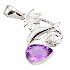 5.53cts natural purple amethyst 925 sterling silver dolphin pendant d43770