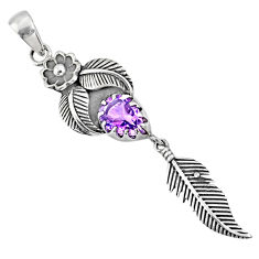 2.44cts natural purple amethyst 925 sterling silver dreamcatcher pendant r67672
