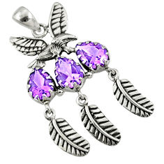 7.85cts natural purple amethyst 925 sterling silver dreamcatcher pendant r67723