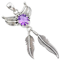 5.18cts natural purple amethyst 925 sterling silver dreamcatcher pendant r67786