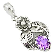1.96cts natural purple amethyst 925 sterling silver flower pendant r77742