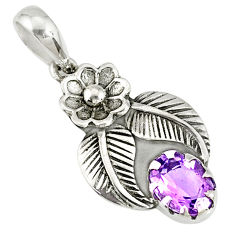 1.96cts natural purple amethyst 925 sterling silver flower pendant r77745