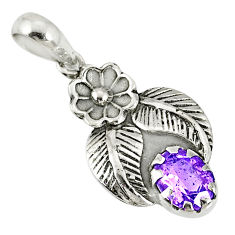 1.96cts natural purple amethyst 925 sterling silver flower pendant r77802